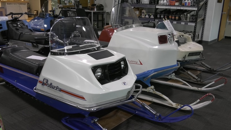 Snow Machines of all shapes and sizes on display at the Alaska Vintage Sleds summer snow...