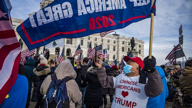 Protesters attended a rally in support of President Donald Trump on the steps of the Minnesota...