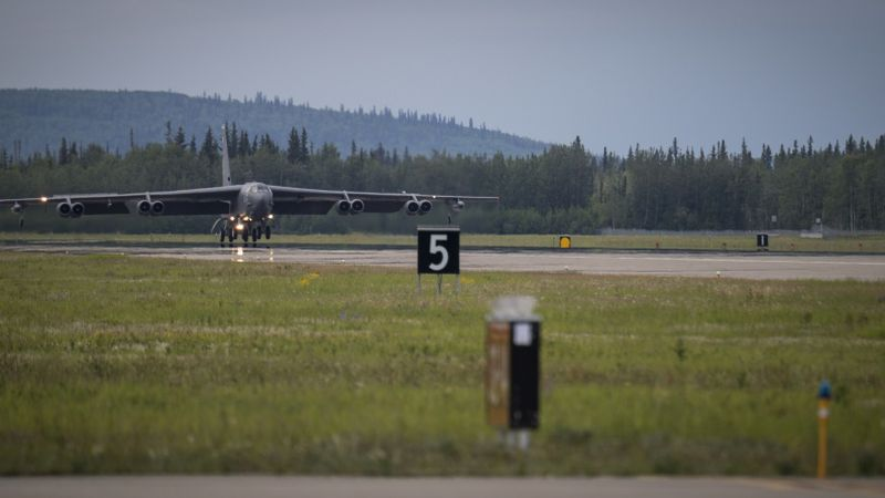 A B-52H Stratofortress deployed from Barksdale Air Force Base, La., arrives at Eielson Air...