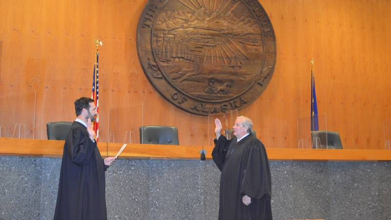 Chief Justice Daniel Winfree being sworn on Thursday. Winfree is the first Alaskan-Born Chief...