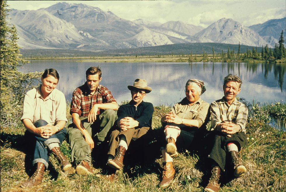 Bob Krear took this photograph at a camp near the Sheenjek River in 1956. From left are Brina...