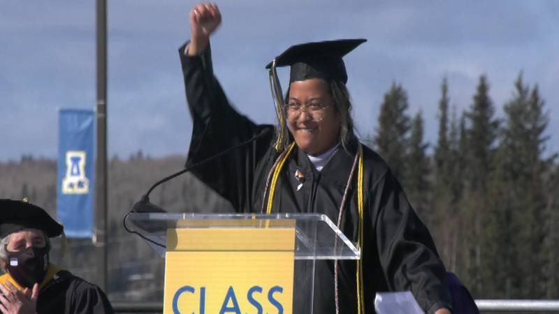2021 Graduate and Student Commencement Speaker, Ray Alda, congratulates the University of...
