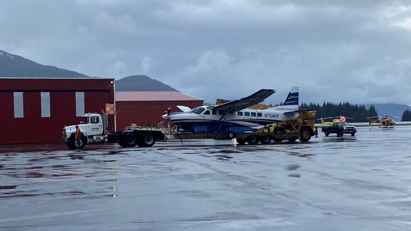 An Alaska Seaplanes Cessna 208 crash-landed shortly after takeoff Friday morning near the...