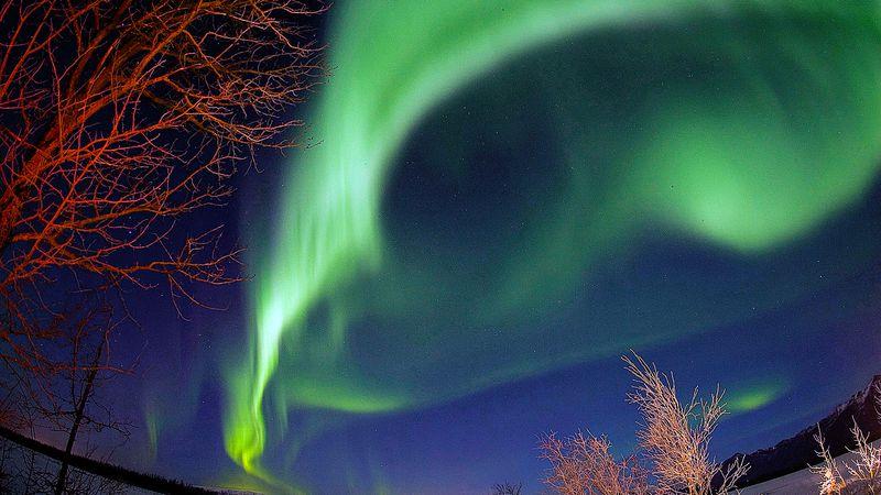 The northern lights dance over the Knik River near Palmer, Alaska, Wednesday, Nov. 29, 2006....