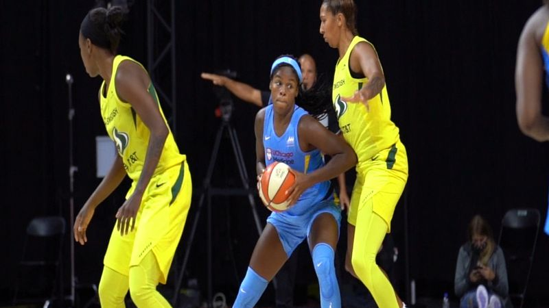 Ruthy Hebard posts up in WNBA game against Mercedes Russell of the Seattle Storm during the...