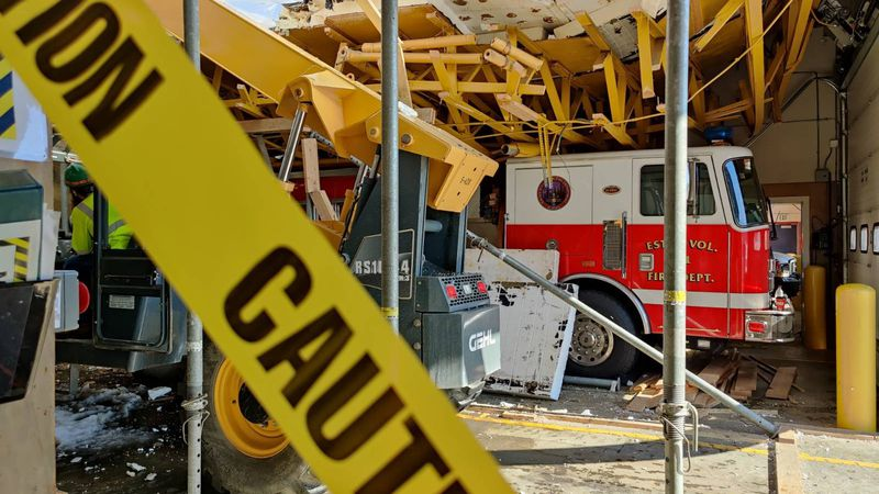 The roof of the Ester Volunteer Fire Department collapsed in early April leaving vehicles...