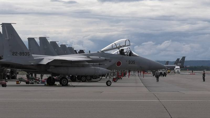 F-15s from the Japanese Air Self-Defense Force are seen parked at Eielson Air Force Base during...