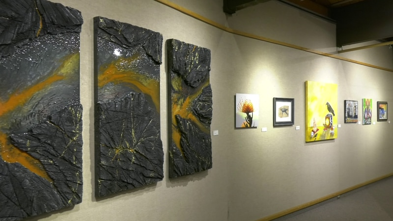 A few of the artworks featured at the F.A.M. exhibition in the Bear Gallery hosted by the...