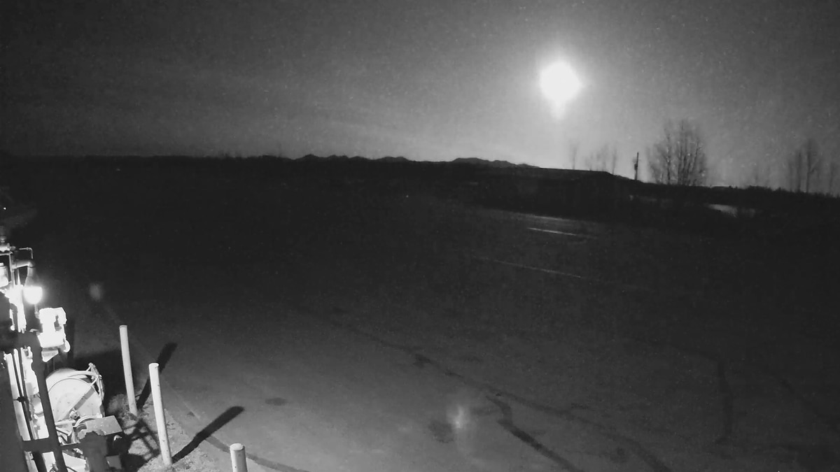 An extraterrestrial visitor lights up the night over western Alaska