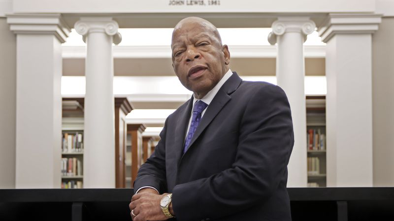 This Nov. 18, 2016 file photo shows Rep. John Lewis, D-Ga., in the Civil Rights Room in the...