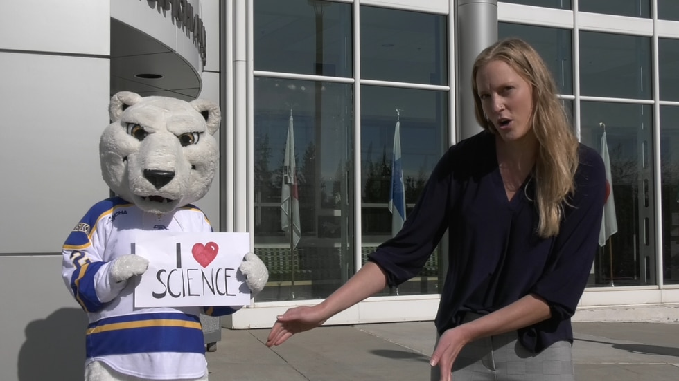 UAF's Nook and Heather McFarland prepare for the Arctic Research scavenger hunt.