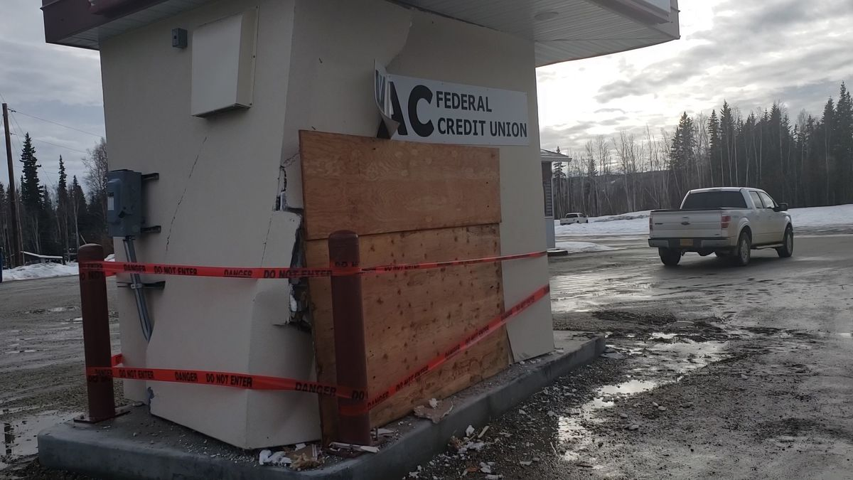 A MAC Federal Credit Union ATM was heavily damaged after someone attempted to break into it with a front loader. (Sarah Hollister/KTVF)