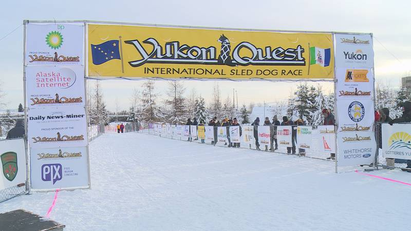 The Yukon Quest finish line in downtown Fairbanks. (KTUU)