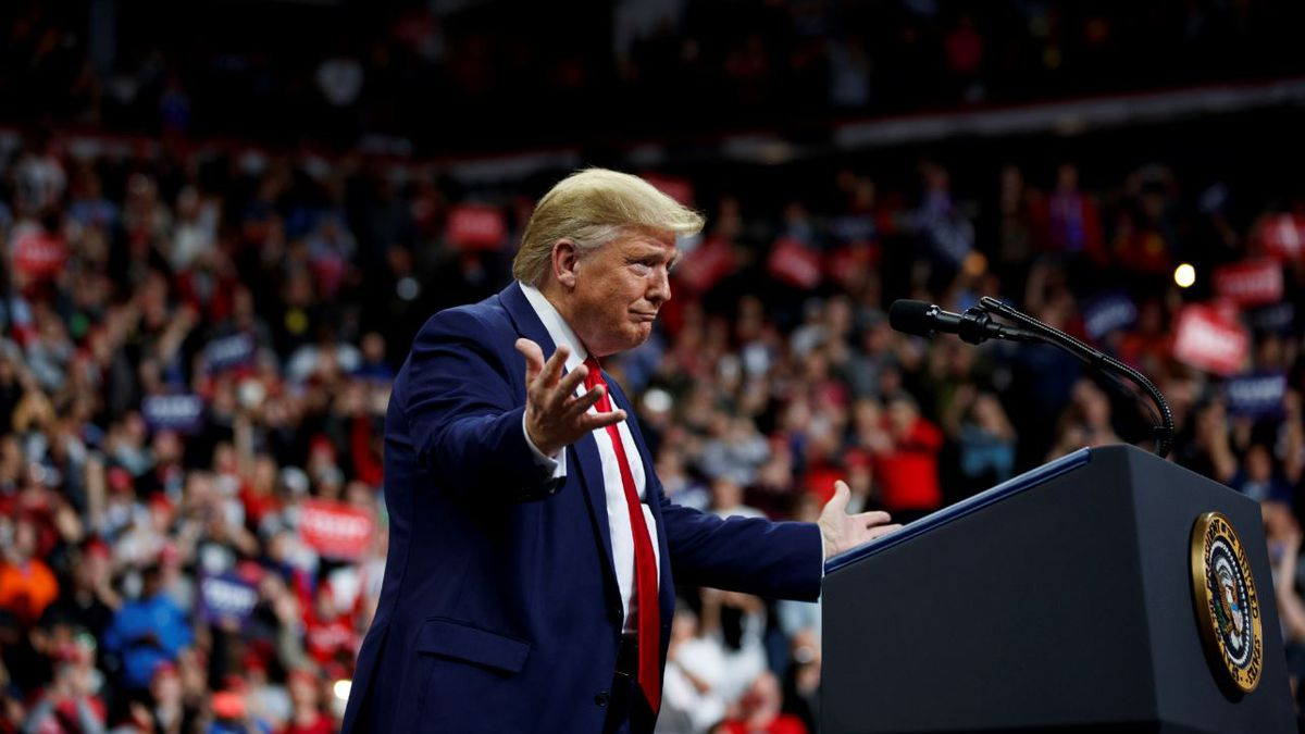 President Donald Trump arrives to speak at a campaign rally at the Target Center, Thursday,...