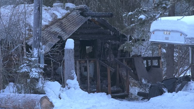 A adult male was found dead inside a small cabin near Fairbanks that caught fire early Tuesday...