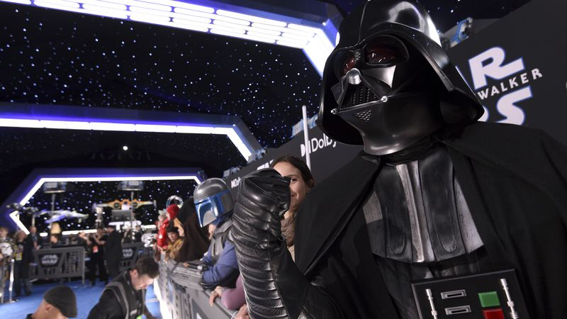 "Roberto Gomez, of Puerto Rico, dressed as Darth Vader, attends the world premiere of ""Star..."